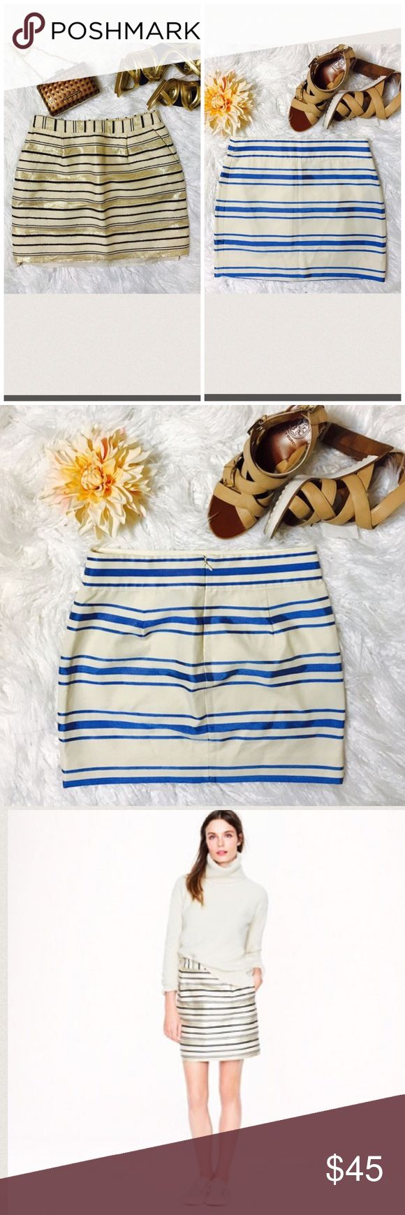 """J.Crew 2 in 1 J.Crew Striped. S75-This J.Crew Outlet skirt is a lovely jacquard in cerulean blue and white. The blue stripes provide a satiny sheen against the white canvas background. Sits at hip. Back zip. Unlined. Laid flat across @ waist: 14"""", Length: 15"""". 54% cotton, 46% Polyester. Machine wash cold, gently cycle. Tumble dry low.  S73-Metallic threads make everything more festive. Cotton/silk. Back zip. Slant pockets.Lined. Dry clean. Import. Laid flat across @ waist: 13.5"""", Length…"""