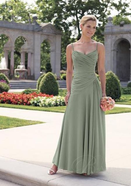 Discount Mother of the Bride Dress Petite Green Spaghetti Ruffled ...-SR