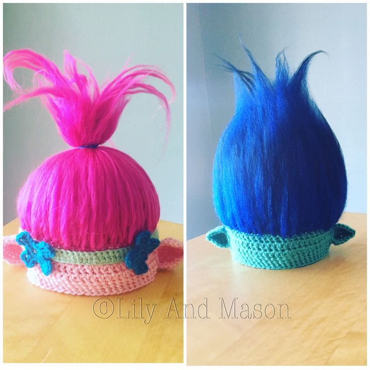 Crochet troll hat, trolls wig, trolls movie, crochet troll hat pattern, troll pattern, poppy hat, Branch hat