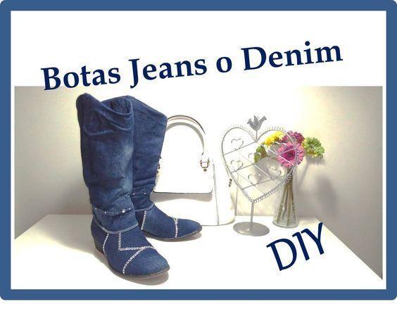 """DIY Como Forrar zapatos o botas con tela Jeans o Denim """"Customizar, Ren..."""