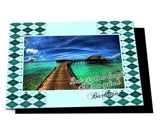 Cartolina magnetica Rombi verdi