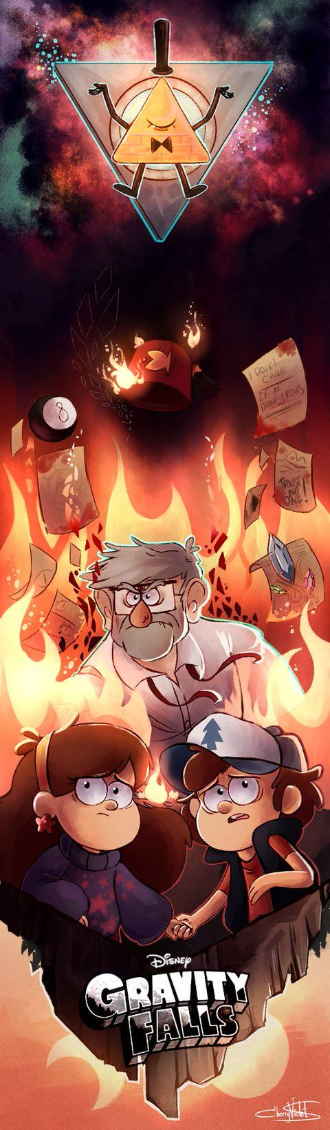 """Mabel hugged Dipper as flames began to rise around them. Bill Cipher has completed his purpose... He could leave in peace to become human for the rest of his life. But obviously, the universe hated this decision. Chaos rose around them. """"Is it happening, Dipper?"""" Mabel quivered. """"Yes, Mabel,"""" Dipper said quietly. He grabbed Mabel's hand- and together they leapt into the flames."""