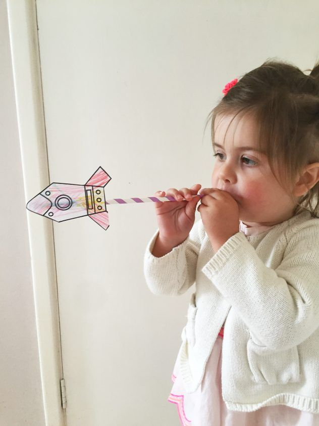 Make your own rockets. FREE PRINTABLE. Straw rockets, kids crafts, space crafts, preschool crafts, diy, crafts,