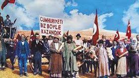 CUMHURİYET'İN İLANI - 1923 yılında; Cumhuriyetin tarihsel evrimini, evrensel boyutunu ve gerçek niteliğini kavramış, aydın zümre yok gibidir. O güne dek, Türkiye'de, cumhuriyetçilik adına, bir düşünce akımı gelişmemiş, herhangi bir örgütlü eylem gerçekleştirilmemişti. Cumhuriyet sözcüğü, aynı şapka gibi, 19.yüzyıldan beri sövgü ve aşağılama tanımı olarak kullanılıyordu; tutuculuk dilinde karşılığı gavurluktu. Mustafa Kemal, Cumhuriyeti ilan ederken yenileşmenin örgütlü gücü haline getirdiği…