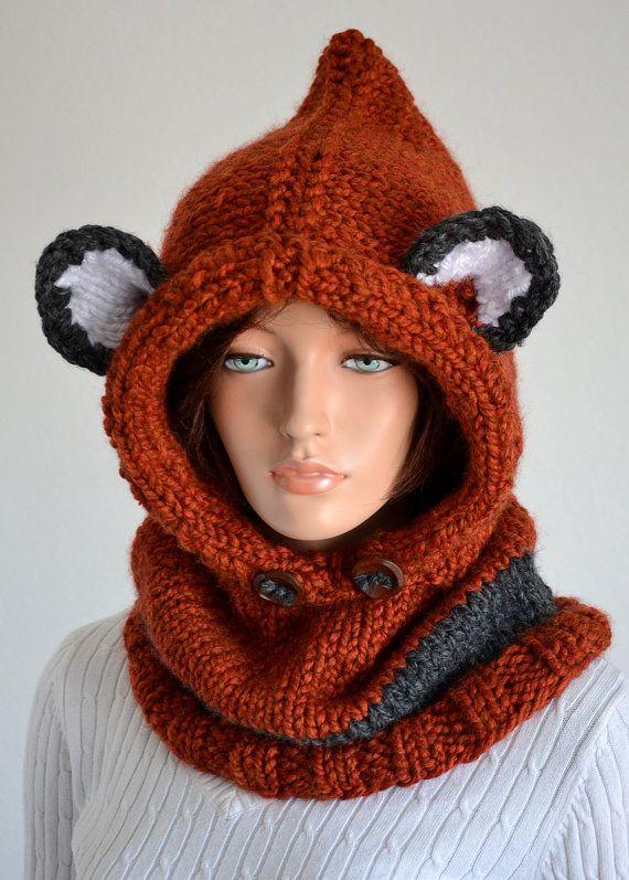 Handmade Failynn fox Cowl/ Knitted Wool Failyn Cowl/ Hooded Cowl Wool, Hand...
