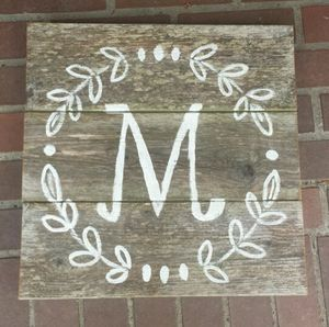 Custom Personalized Letter Name Initial Painting in Reclaimed Wood Sign