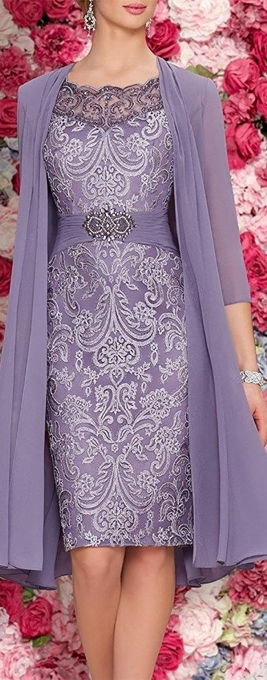Mother Of The Bride Dresses Tea Length Two Pieces With Jacket PURPLE – Cute Moth…