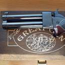 """Grat Gun . 45, 3"""": Jednalo se o unáhlenou koupi, před cca jedním týdnem. Setřen olej z povrchu, párkrát vzato do ruky, nyní v krabici. Zbraň je nestřílená. V ceně klíč na pistony včetně 2 Ks pistonů + dřevěná krabička. Nejraději osobní předání. Pro úplnost dodávám, že není třeba zbrojní průkaz, registrace atd. …. Jen věk nad osmnáct let. Při platbě předem na účet, poštovné v ceně. Jen seriózním zájemcům, rád bych od počátku věděl, s kým jednám a (přiměřeně), že ten s kým jednám je starší…"""