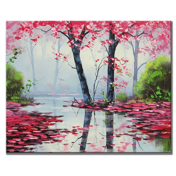 MISTY PINK PAINTING trees river impressionist by GerckenGallery, $279.00