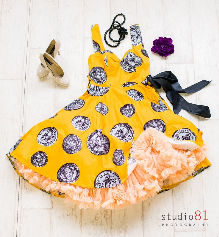 Mustard Coin Dress (Size L), Peach Petticoat, Royal Purple Frilled Flower, Black Beaded Necklace, Tan Heels (Size 9)