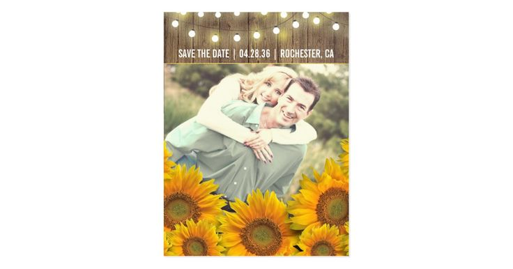 Sunflowers Rustic Photo Save The Date Postcards Save the Date Custom Postcards that you can add pictures to.