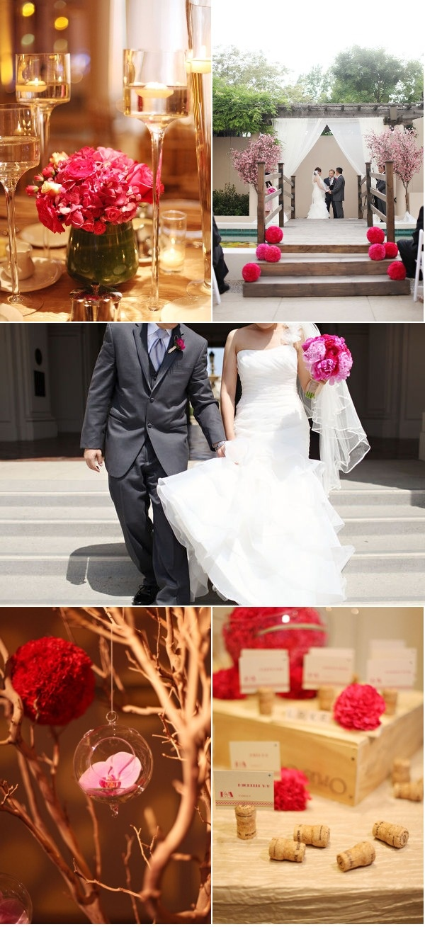 love the bright pink ball florals going up the stairs to the ceremony site.