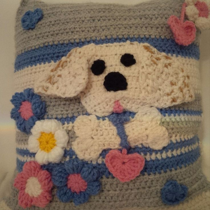 PUPPY CUSHION, STUNNING.... HAND MADE in knitting and crochet....