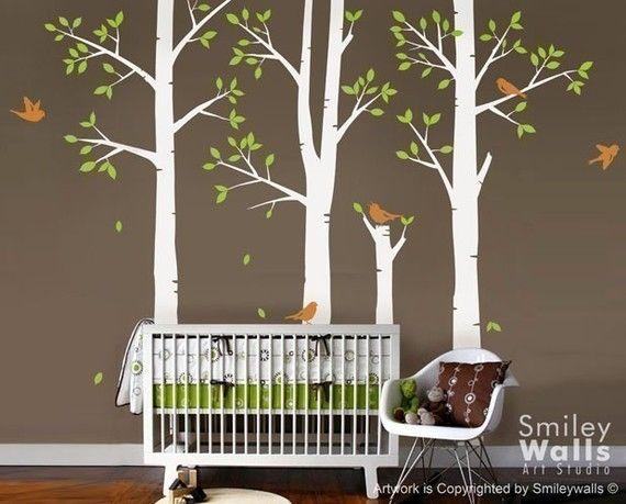 Spring Trees and Birds  Nursery Vinyl Wall Decal by smileywalls, $145.00
