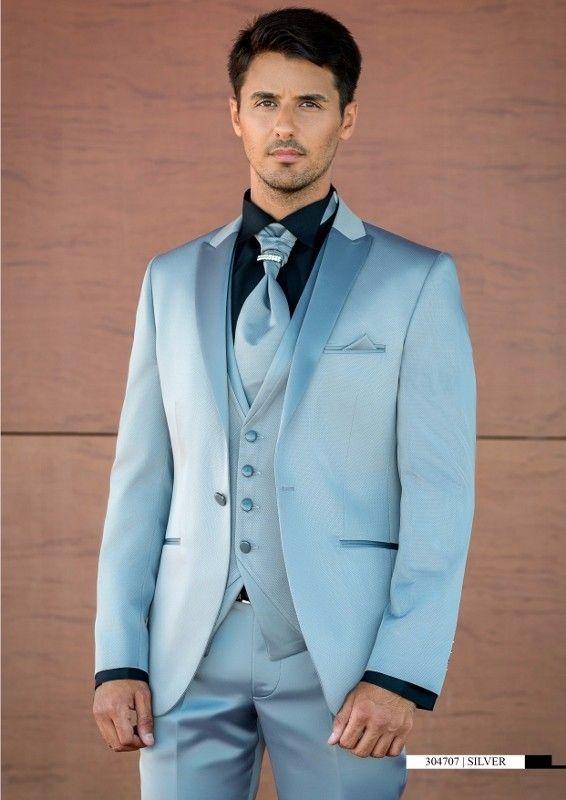 Latest Coat Pant Designs Light Blue Satin Prom Men Suit Slim Fit 3 Piece Tuxedo  Groom a1c5dbbff19c