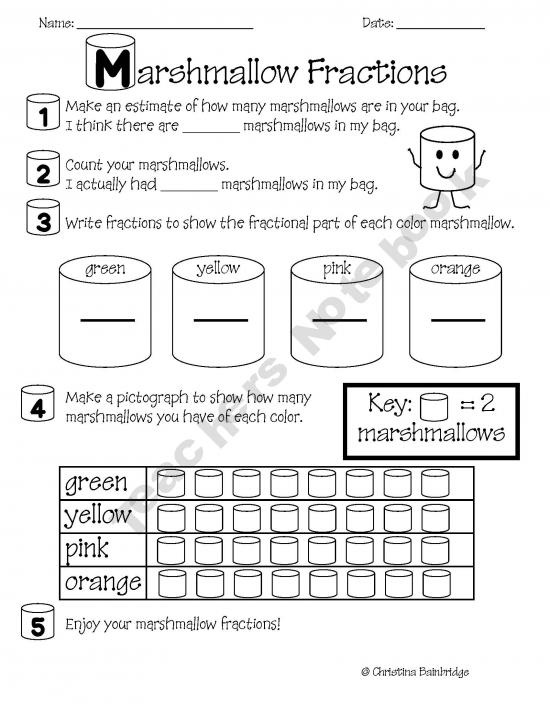 Here's a quick activity on fractions using part of a set model with colored marshmallows.