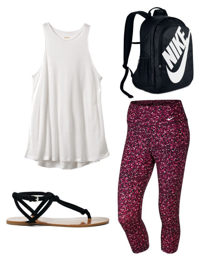 """NIKE shopping day"" by sadie-loehr ❤ liked on Polyvore featuring RVCA, NIKE and Sole Society"