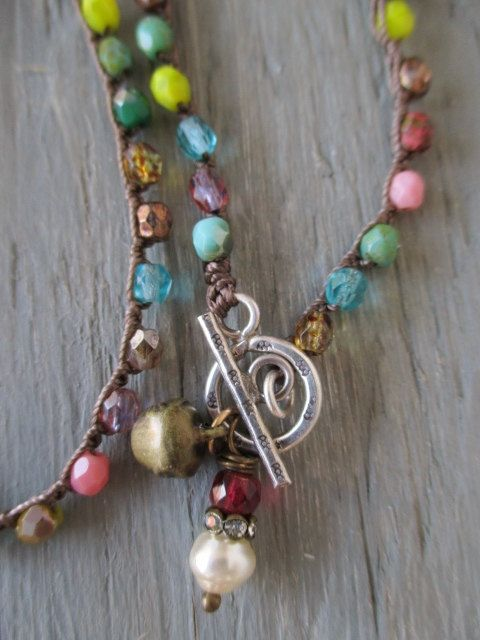 Colorful+front+toggle+crochet+necklace+The+Jingle+by+slashKnots,+$43.00