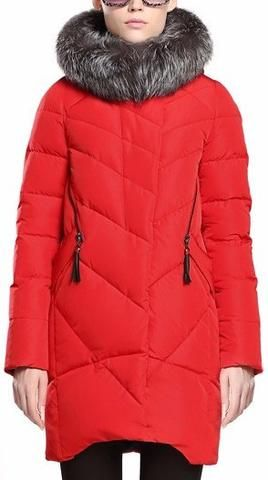 Silver Fox Fur Hooded Puffer Down Coat in Red