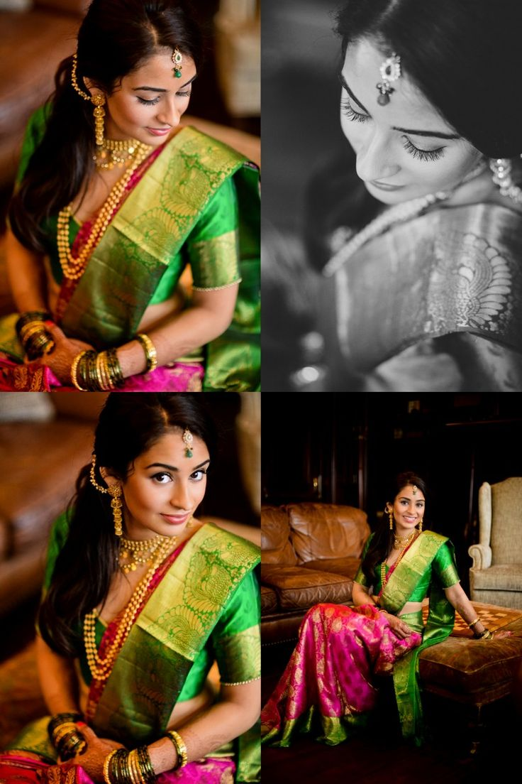 Love this colour combination. Beautiful Marathi bride in a lovely silk saree.