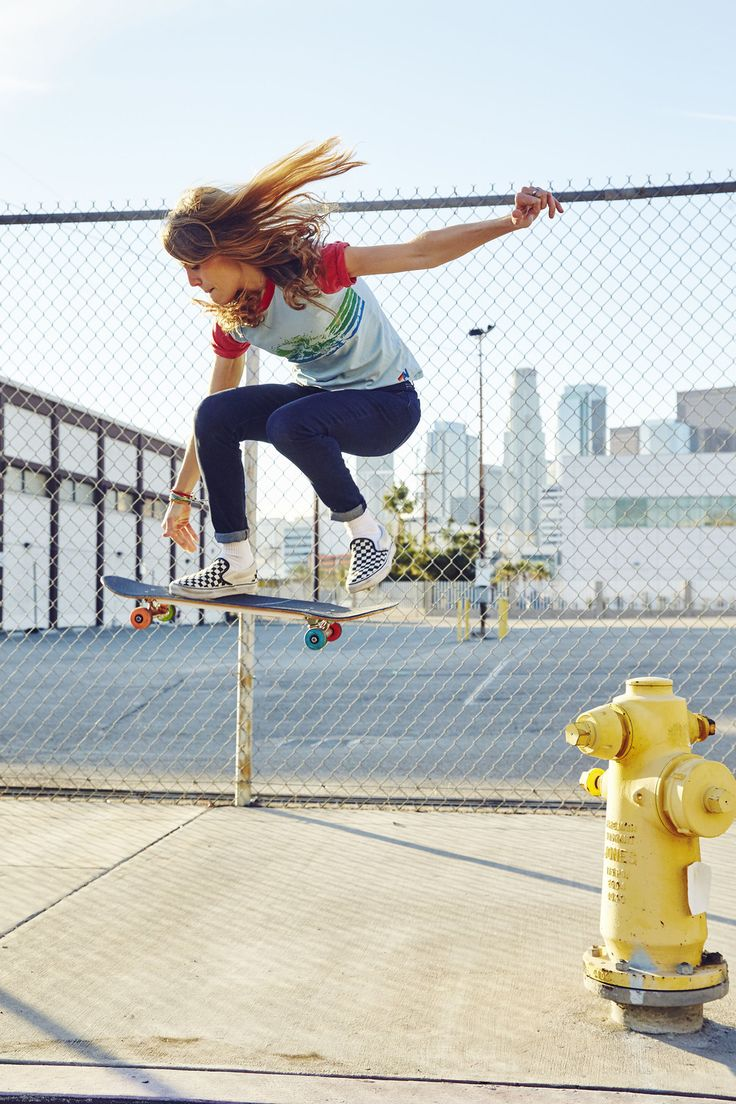 """For photographer and skateboarder Sierra Prescott, life is lived in denim. """"I can't remember many days not spent in denim,"""" she says. Gap jeans are her go-to look for skateboarding in Los Angeles."""