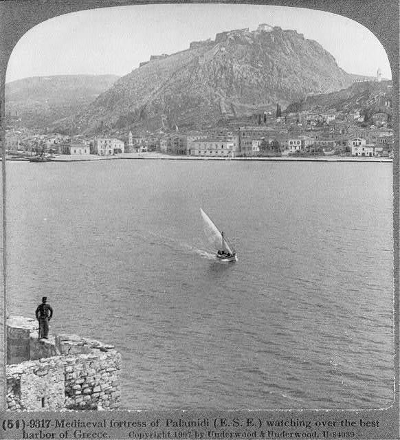 Medieval Fortress,Palamidi,E.S.E.,Best Harbor of Greece,1907,Soldier,Sailboat
