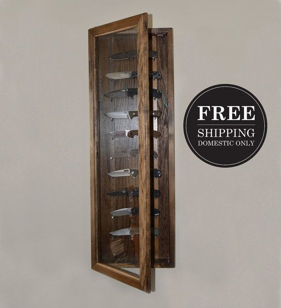 FREE SHIPPING Knife Display Case  Walnut Knife Display  Wall by reclaimerdesign