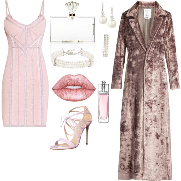 How to ...be prety in  pink and velvet by vicky-angelidou-pappas on Polyvore featuring Hervé Léger, Rosie Assoulin, Casadei, Charlotte Olympia, Belpearl, Kenneth Jay Lane, Amrita Singh and Christian Dior