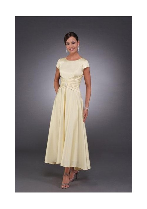 A-Line Round-neck Tea-length Satin Mother of the Bride Dresses 2010 style(MWYN055)
