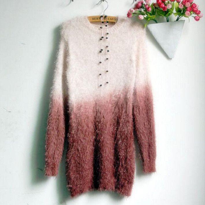 Knitted Mini Dress Spring Women Mohair Sweater Dress Gradient Ramp Women Tricotado Casual Ladies Knitwear WZM256