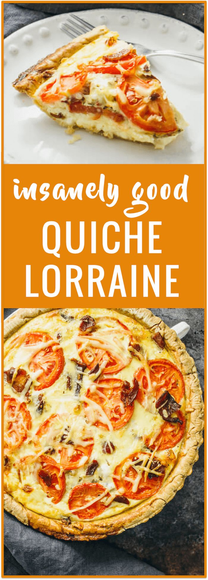Quiche lorraine - Slice into this comforting quiche lorraine, filled with crispy crumbled bacon, sliced tomatoes, eggs, and pepper jack cheese. It's an easy oven recipe for a classic and healthy quiche lorraine. - savorytooth.com