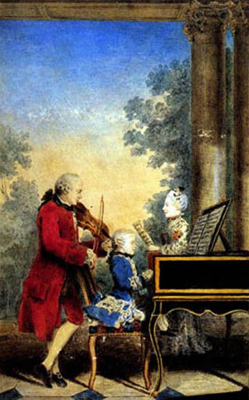 The Mozart family on tour: Leopold, Wolfgang, and Nannerl. Watercolor by Carmontelle, ca. 1763