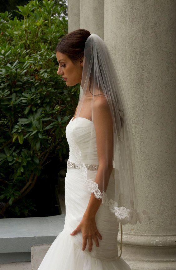 Alencon Lace Veil fingertip veil lace by CoutureBrideBoutique