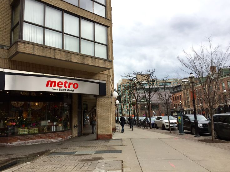 Metro grocery store on Front Street at Church looking east to St. Lawrence market