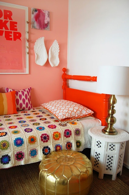 chic bedroom...love those wings and crochet blanket