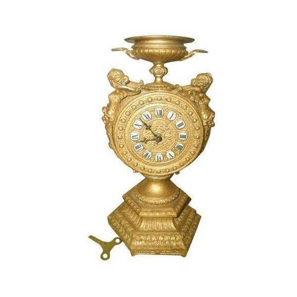 Antique 8-Day Gilt Mayer Cherub Clock ($485) ❤ liked on Polyvore featuring home, home decor, clocks, antique urns, hand clock, black home decor, black mantel clock and chiming clocks