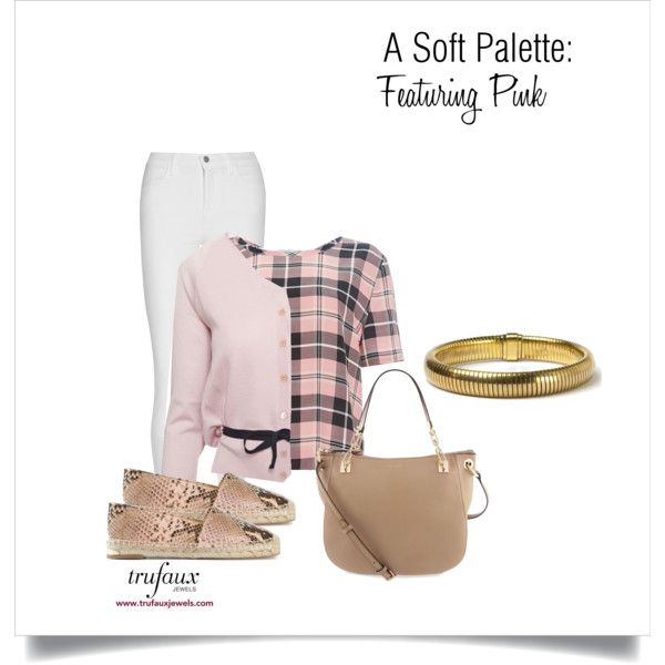 A Soft Palette: Featuring Pink by trufauxjewels on Polyvore featuring RED Valentino, Equipment, J Brand, Paloma Barceló, Henri Bendel and Retrò