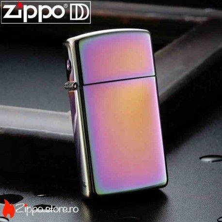 Zippo Spectrum Slim este un model ce se remarca prin finisajul spectaculos, cu un luciu puternic ce capteaza reflexiile solare, transformandu-le intr-un spectru colorat. Fa-te remarcat printr-un singur click!