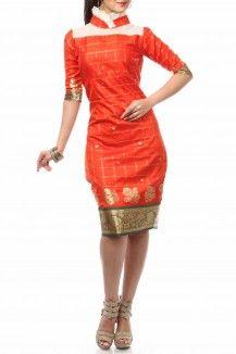 Stand Frill Collar Pencil Fit Dress By Nesavaali - Rs.2450
