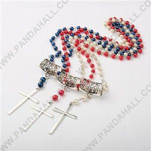 Glas Perlen Halsketten, mit Legierungsanhänger Erkenntnisse und Eisen Eyepins, überqueren, antike silberne Metallfarbe, Mischfarbe