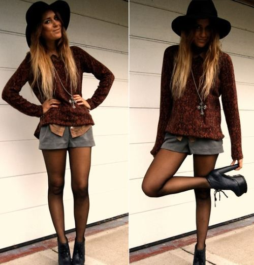 Tan shorts with black tights with dress