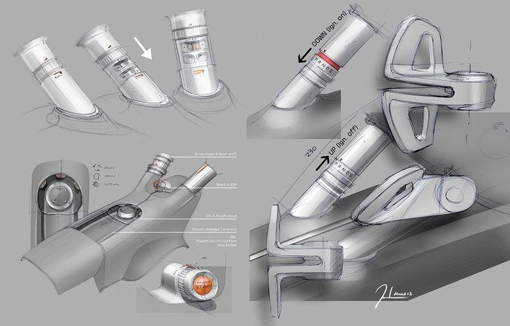 Kia Niro Concept - Interior Design Sketch - Details - Car Body Design