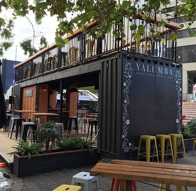 25 best ideas about shipping container cafe on pinterest for Coffee shop exterior design ideas