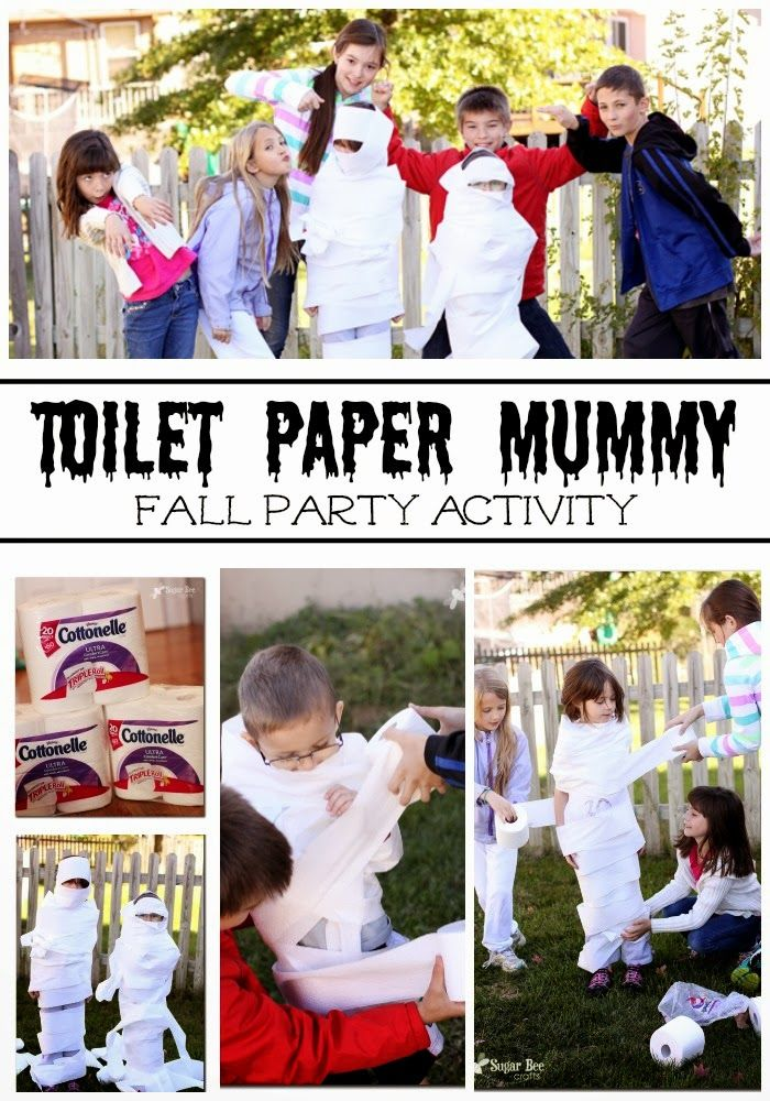 Toilet Paper Mummy Game - (great idea for all those class fall parties) - - Sugar Bee Crafts