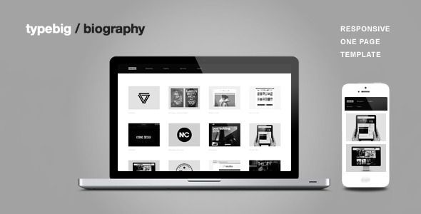 "Biography - Responsive One Page Template   http://themeforest.net/item/biography-responsive-one-page-template/5073412?ref=damiamio          Support at typebig.ticksy   ======= Updates ======= v1.3 - 07.25.13 --------------- 1. Added toggle menu button for small screens 2. Added another version of services section (without circles) 3. Added 404 page 4. Added disable option for landing section animation and logo animation  - To disable landing section animation, add class ""nomove"" to intro…"