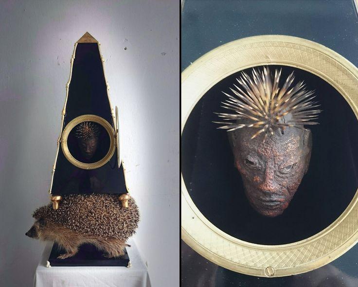 Hedgehog reliquary with a header from orange peel by Marek Mudra 2016