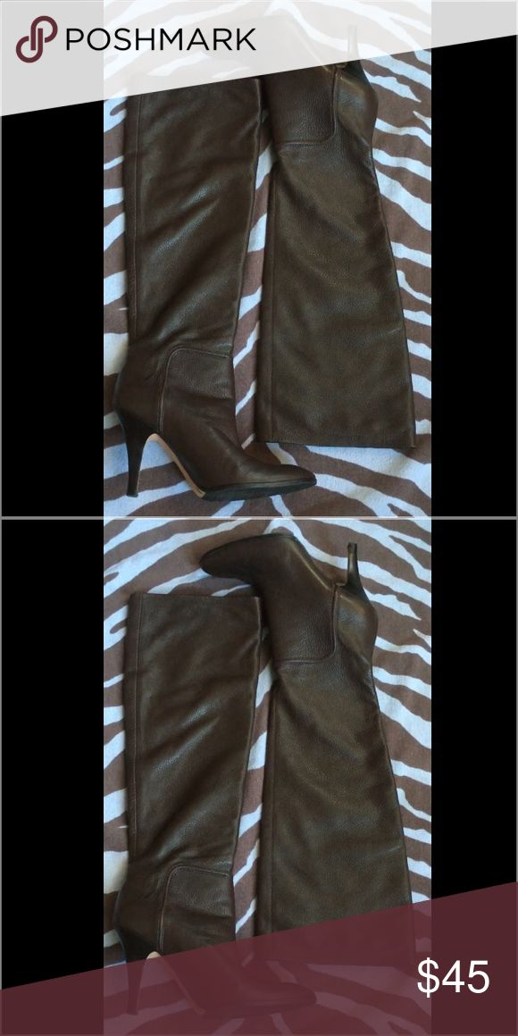 "Lady's Leather Boots Soft leather, dark brown elegant lady's boot. Heel measures approximately 4"" worn once, in great condition Shoes Heels"