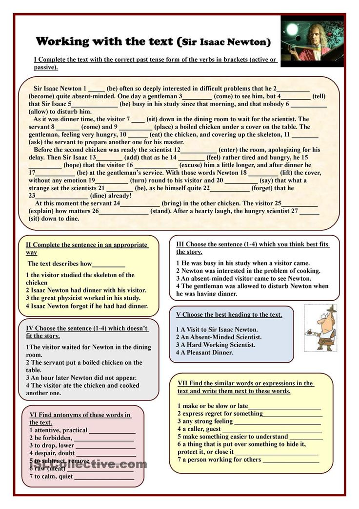 English Worksheets For Teachers : Working with the text sir isaac newton esl worksheets