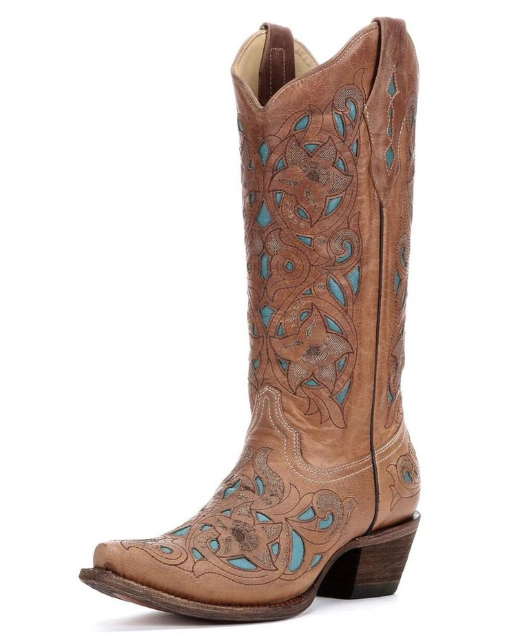Corral | Women's Tan Floral Turquoise Inlay Boots - A1952 | Country Outfitter
