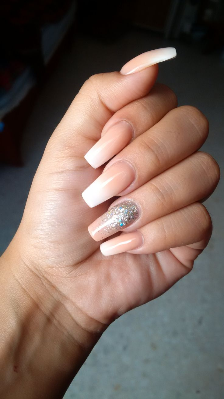 Nails By Rebecca Romero  Squoval nails Silver glitter Ombre pach and white